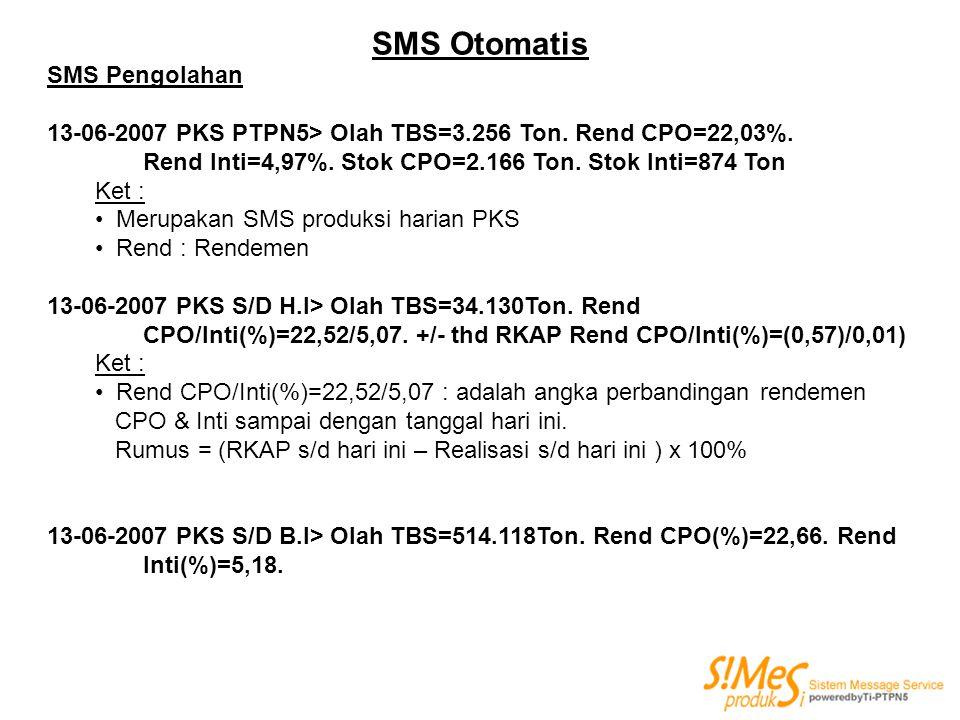 SMS Otomatis SMS Pengolahan 13-06-2007 PKS PTPN5> Olah TBS=3.256 Ton. Rend CPO=22,03%. Rend Inti=4,97%. Stok CPO=2.166 Ton. Stok Inti=874 Ton Ket : Me