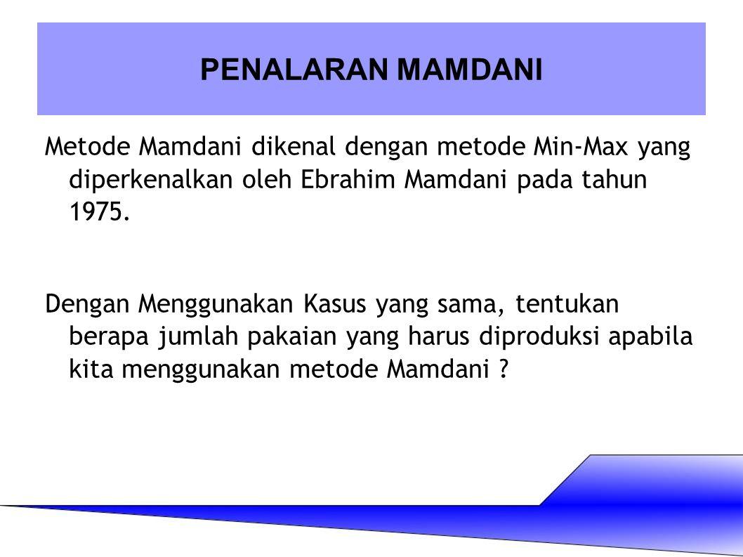 Metode Mamdani dikenal dengan metode Min-Max yang diperkenalkan oleh Ebrahim Mamdani pada tahun 1975. Dengan Menggunakan Kasus yang sama, tentukan ber