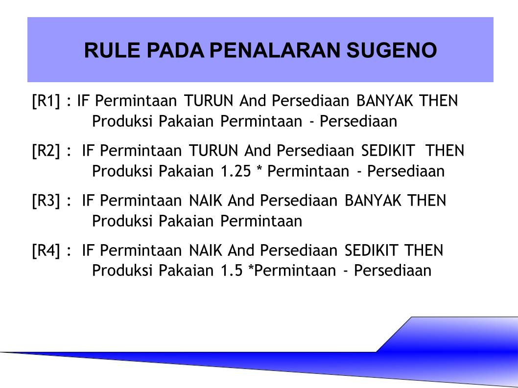 [R1] : IF Permintaan TURUN And Persediaan BANYAK THEN Produksi Pakaian Permintaan - Persediaan [R2] : IF Permintaan TURUN And Persediaan SEDIKIT THEN