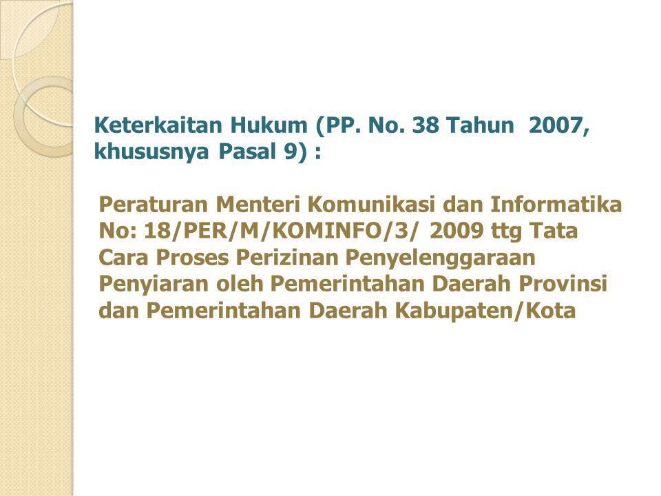 Keterkaitan Hukum (PP. No. 38 Tahun 2007, khususnya Pasal 9) : Peraturan Menteri Komunikasi dan Informatika No: 18/PER/M/KOMINFO/3/ 2009 ttg Tata Cara