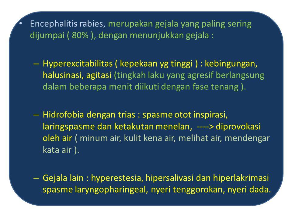 Paralitik rabies, ditemukan sekitar 20% kasus, ditandai oleh gejala kelumpuhan yang menonjol berupa paresis pada keempat ekstrimitas serta gangguan spincter ani.