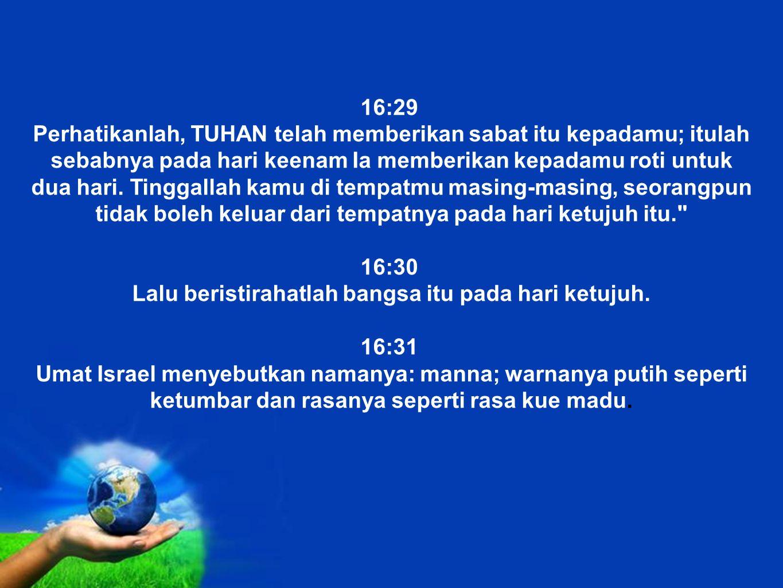 Free Powerpoint Templates 16:29 Perhatikanlah, TUHAN telah memberikan sabat itu kepadamu; itulah sebabnya pada hari keenam Ia memberikan kepadamu roti