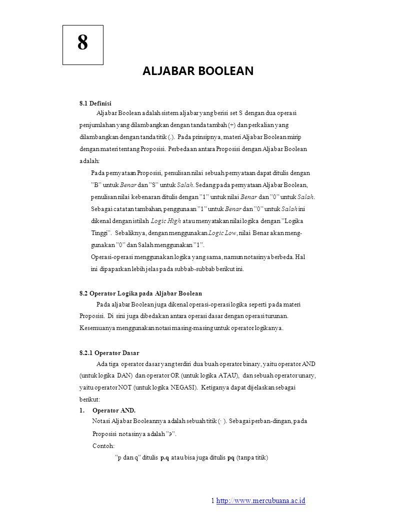 8 ALJABAR BOOLEAN 8.1 Definisi Aljabar Boolean adalah sistem aljabar yang berisi set S dengan dua operasi penjumlahan yang dilambangkan dengan tanda tambah (+) dan perkalian yang dilambangkan dengan tanda titik (.).