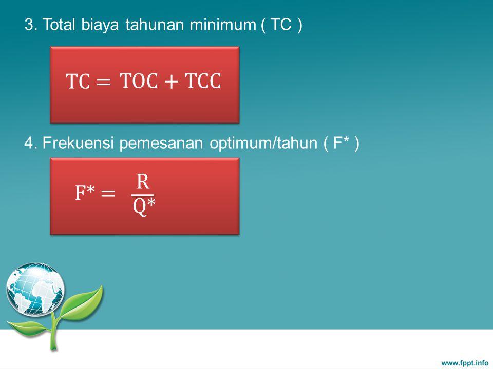 F* = R Q* 3. Total biaya tahunan minimum ( TC ) 4. Frekuensi pemesanan optimum/tahun ( F* ) TC = TOC + TCC