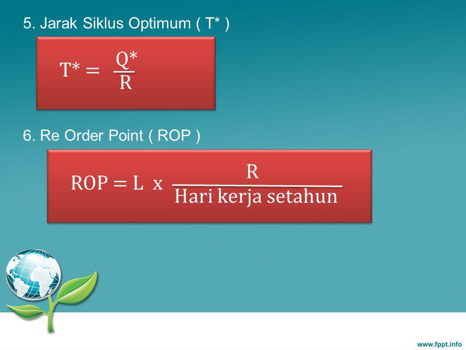 ROP = L x R Hari kerja setahun 5. Jarak Siklus Optimum ( T* ) 6. Re Order Point ( ROP ) T* = Q* R