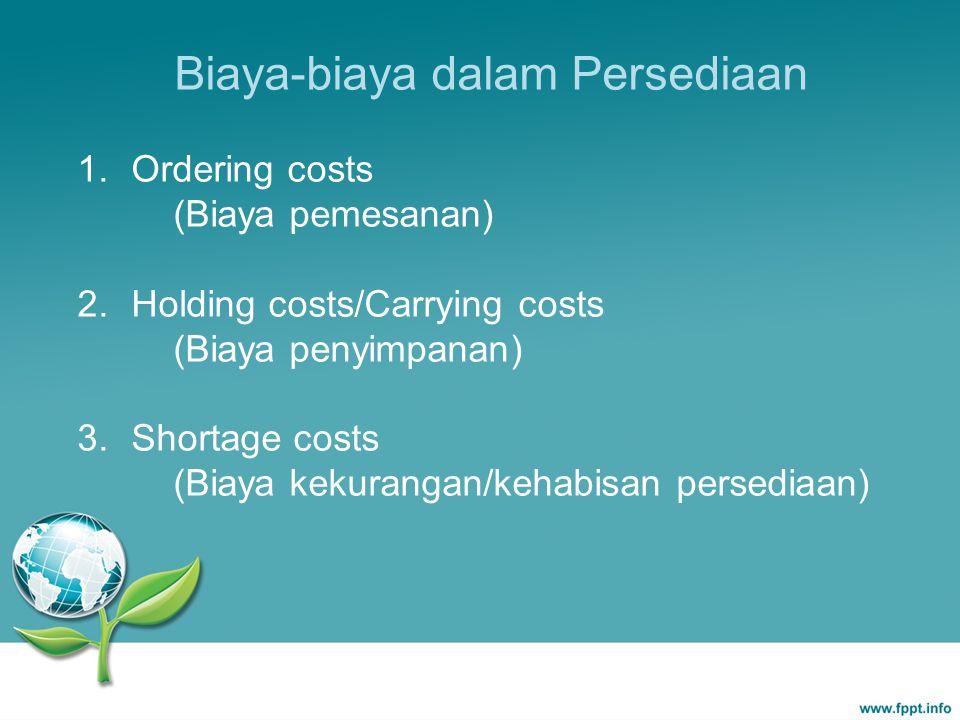 Biaya-biaya dalam Persediaan 1. Ordering costs (Biaya pemesanan) 2. Holding costs/Carrying costs (Biaya penyimpanan) 3. Shortage costs (Biaya kekurang