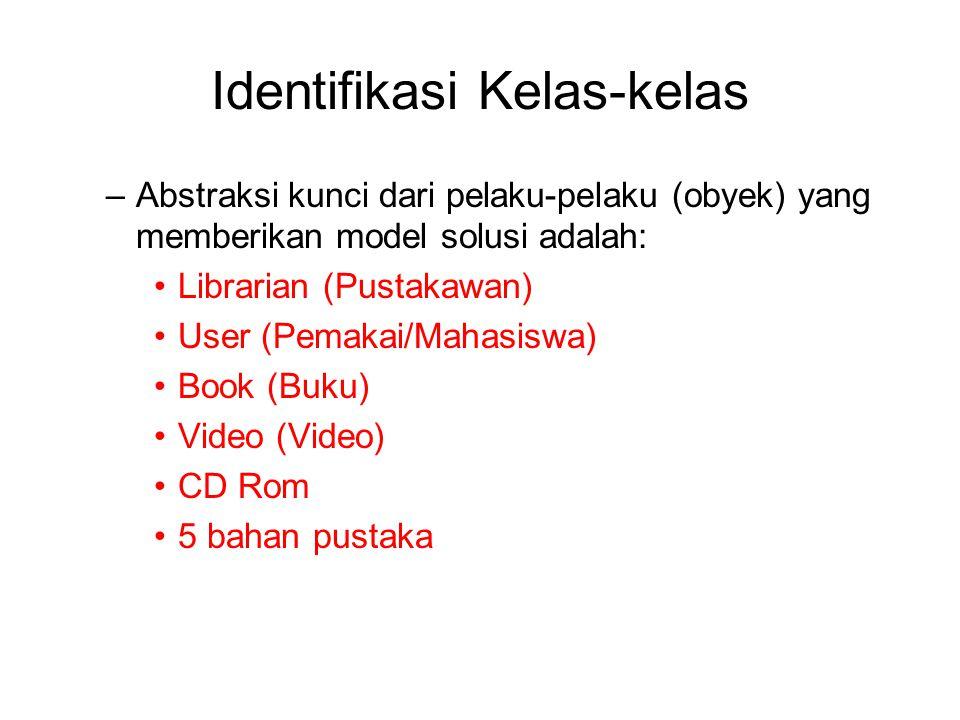 Identifikasi Kelas-kelas –Abstraksi kunci dari pelaku-pelaku (obyek) yang memberikan model solusi adalah: Librarian (Pustakawan) User (Pemakai/Mahasis