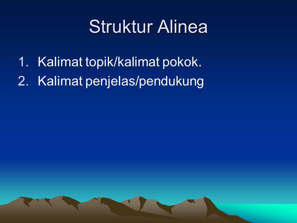 Struktur Alinea 1.Kalimat topik/kalimat pokok. 2.Kalimat penjelas/pendukung