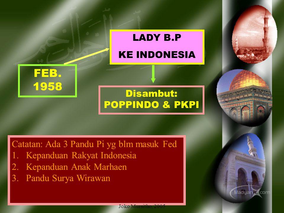 Sept. 1954 berdiri 2 Federasi Kepanduan Puteri Indonesia: PERSATUAN KEPANDUAN PUTERI INDONESIA Anggotanya dari: - Pandu Rakyat Indonesia – Ibu Clement