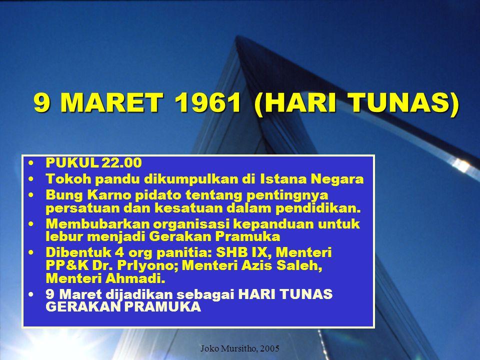 Menjelang 9 Maret 1961 Sri Sultan HB ke IX dan Brigjen TNI Azis Saleh, melaporkan bahwa 60 organisasi kepanduan dan tokoh-tokoh pandu Indonesia setuju