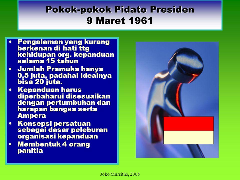 9 MARET 1961 (HARI TUNAS) PUKUL 22.00 Tokoh pandu dikumpulkan di Istana Negara Bung Karno pidato tentang pentingnya persatuan dan kesatuan dalam pendi