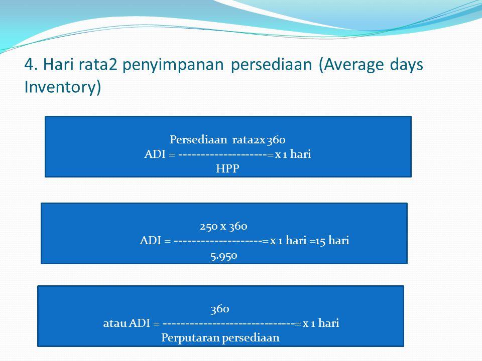 4. Hari rata2 penyimpanan persediaan (Average days Inventory) Persediaan rata2x 360 ADI = --------------------= x 1 hari HPP 250 x 360 ADI = ---------