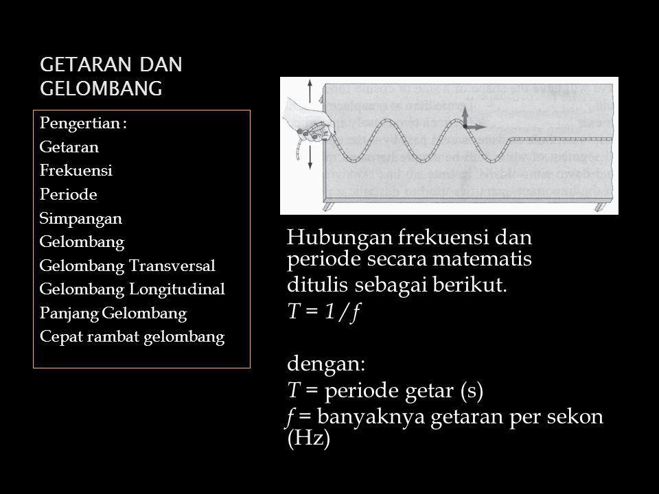 GETARAN DAN GELOMBANG Pengertian : Getaran Frekuensi Periode Simpangan Gelombang Gelombang Transversal Gelombang Longitudinal Panjang Gelombang Cepat rambat gelombang Hubungan frekuensi dan periode secara matematis ditulis sebagai berikut.