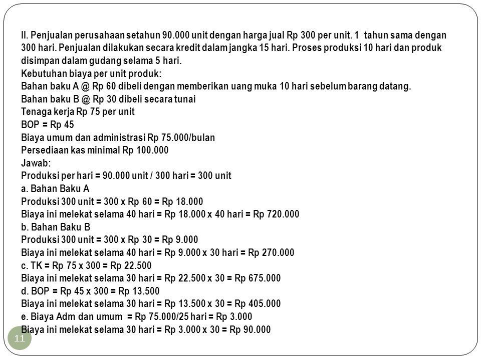 11 II. Penjualan perusahaan setahun 90.000 unit dengan harga jual Rp 300 per unit. 1 tahun sama dengan 300 hari. Penjualan dilakukan secara kredit dal