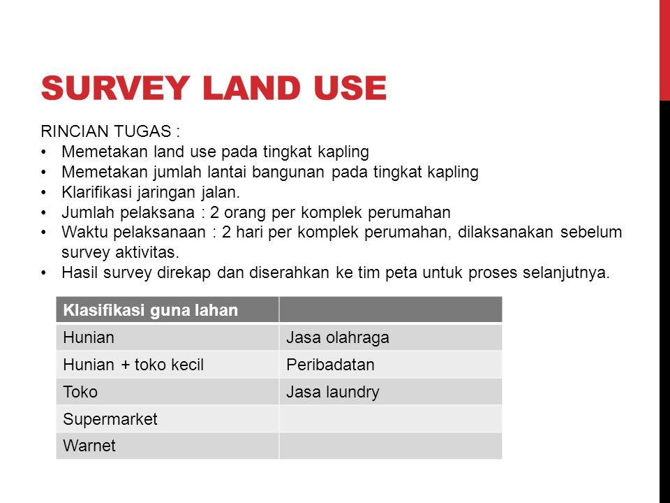 SURVEY LAND USE RINCIAN TUGAS : Memetakan land use pada tingkat kapling Memetakan jumlah lantai bangunan pada tingkat kapling Klarifikasi jaringan jalan.