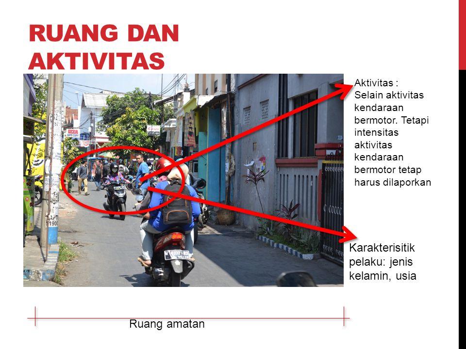 RUANG DAN AKTIVITAS Ruang amatan Aktivitas : Selain aktivitas kendaraan bermotor.