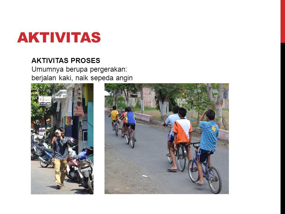AKTIVITAS AKTIVITAS PROSES Umumnya berupa pergerakan: berjalan kaki, naik sepeda angin