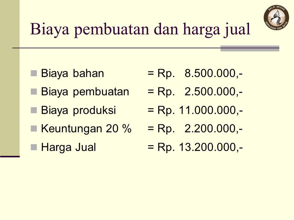 Biaya pembuatan dan harga jual Biaya bahan= Rp. 8.500.000,- Biaya pembuatan= Rp. 2.500.000,- Biaya produksi= Rp. 11.000.000,- Keuntungan 20 % = Rp. 2.