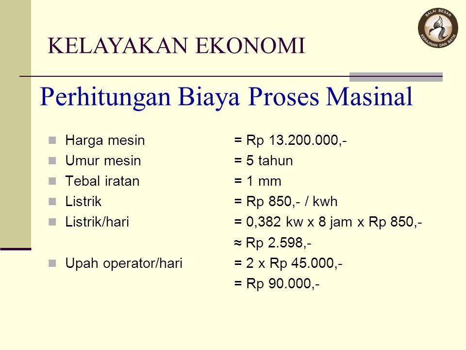 Perhitungan Biaya Proses Masinal Harga mesin= Rp 13.200.000,- Umur mesin= 5 tahun Tebal iratan= 1 mm Listrik= Rp 850,- / kwh Listrik/hari= 0,382 kw x