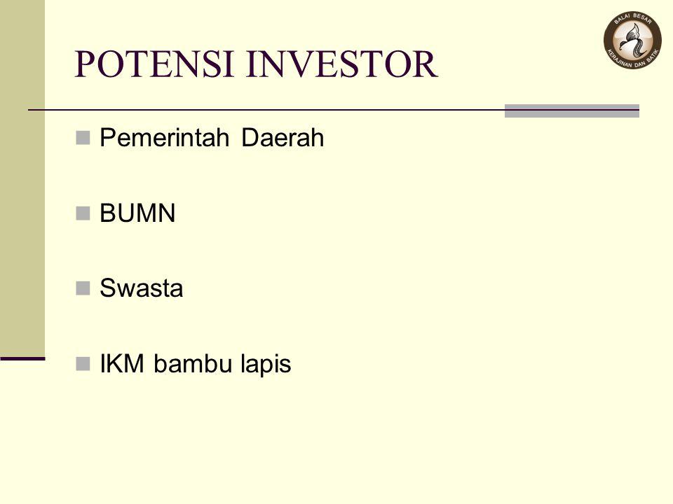 POTENSI INVESTOR Pemerintah Daerah BUMN Swasta IKM bambu lapis