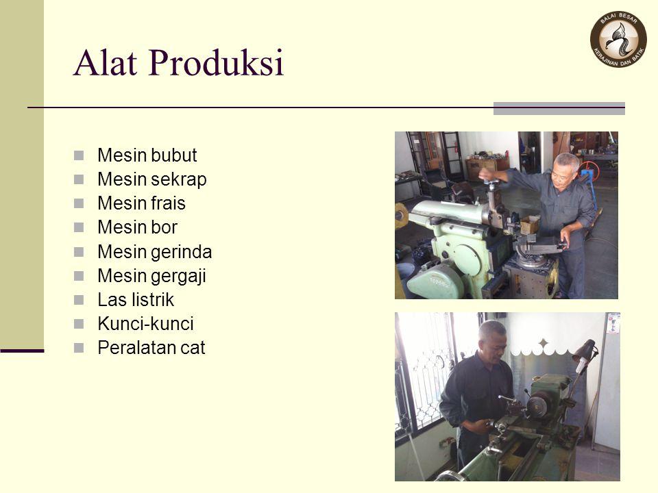 Alat Produksi Mesin bubut Mesin sekrap Mesin frais Mesin bor Mesin gerinda Mesin gergaji Las listrik Kunci-kunci Peralatan cat
