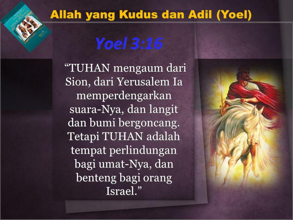 """Yoel 3:16 """"TUHAN mengaum dari Sion, dari Yerusalem Ia memperdengarkan suara-Nya, dan langit dan bumi bergoncang. Tetapi TUHAN adalah tempat perlindung"""