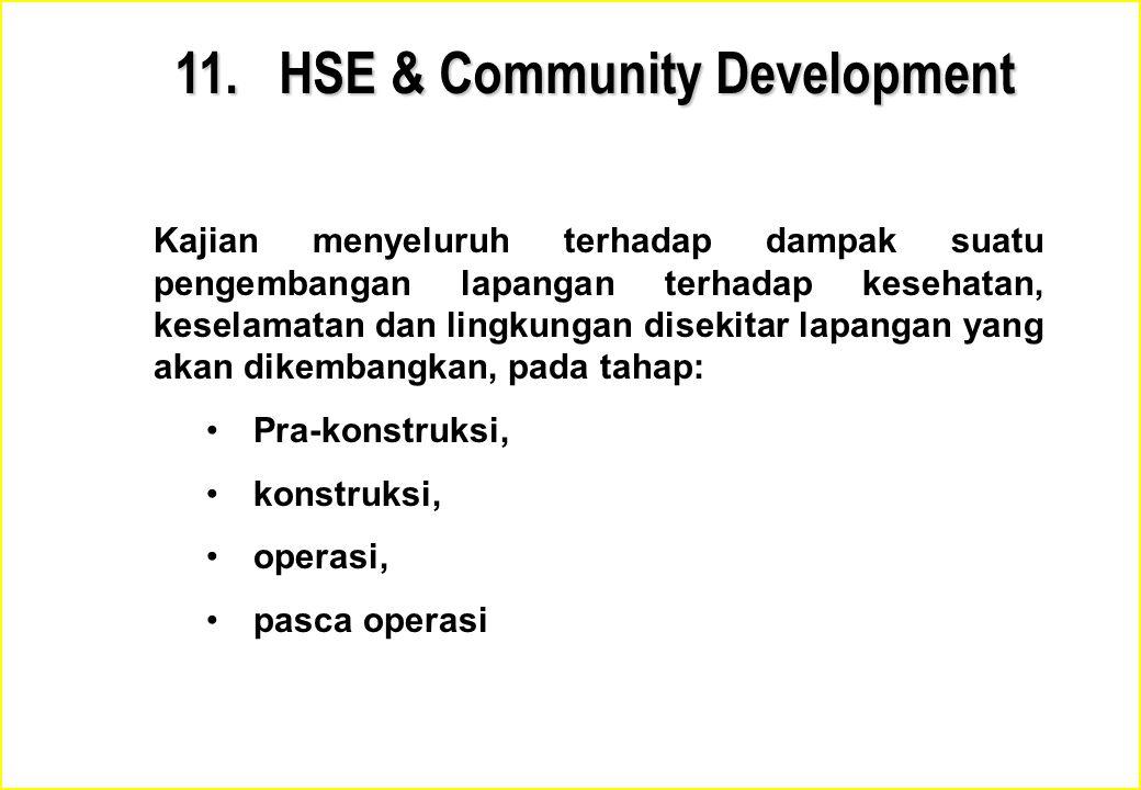 11. HSE & Community Development Kajian menyeluruh terhadap dampak suatu pengembangan lapangan terhadap kesehatan, keselamatan dan lingkungan disekitar