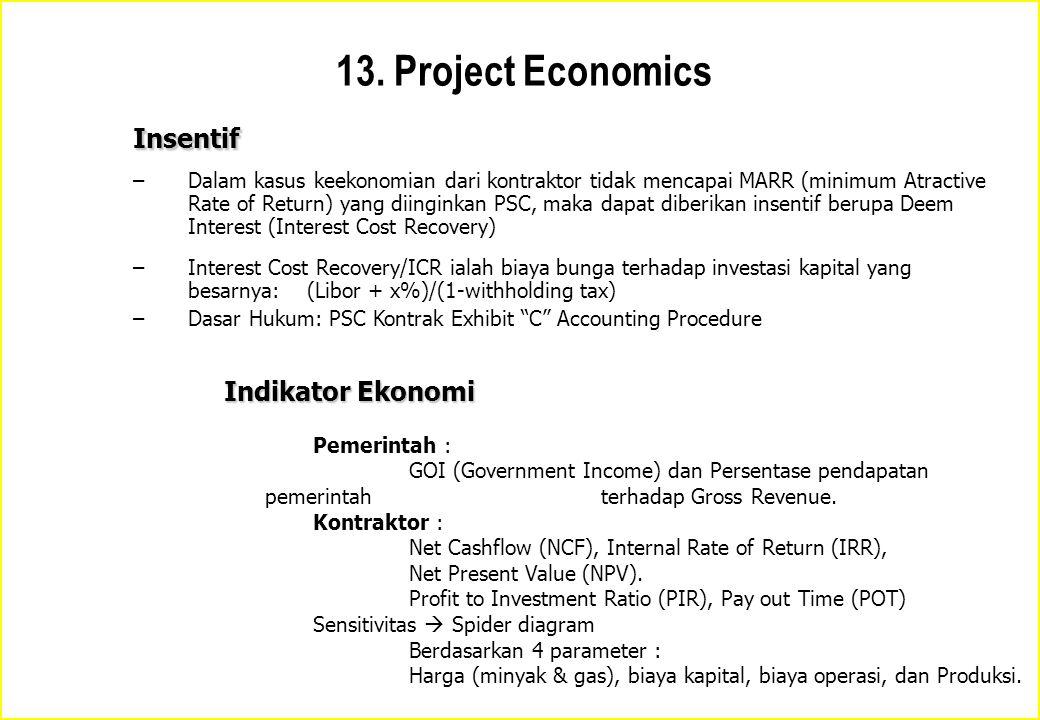 Insentif –Dalam kasus keekonomian dari kontraktor tidak mencapai MARR (minimum Atractive Rate of Return) yang diinginkan PSC, maka dapat diberikan ins