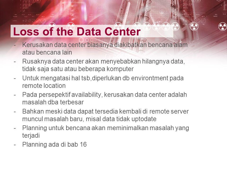Loss of the Data Center -Kerusakan data center biasanya diakibatkan bencana alam atau bencana lain -Rusaknya data center akan menyebabkan hilangnya da