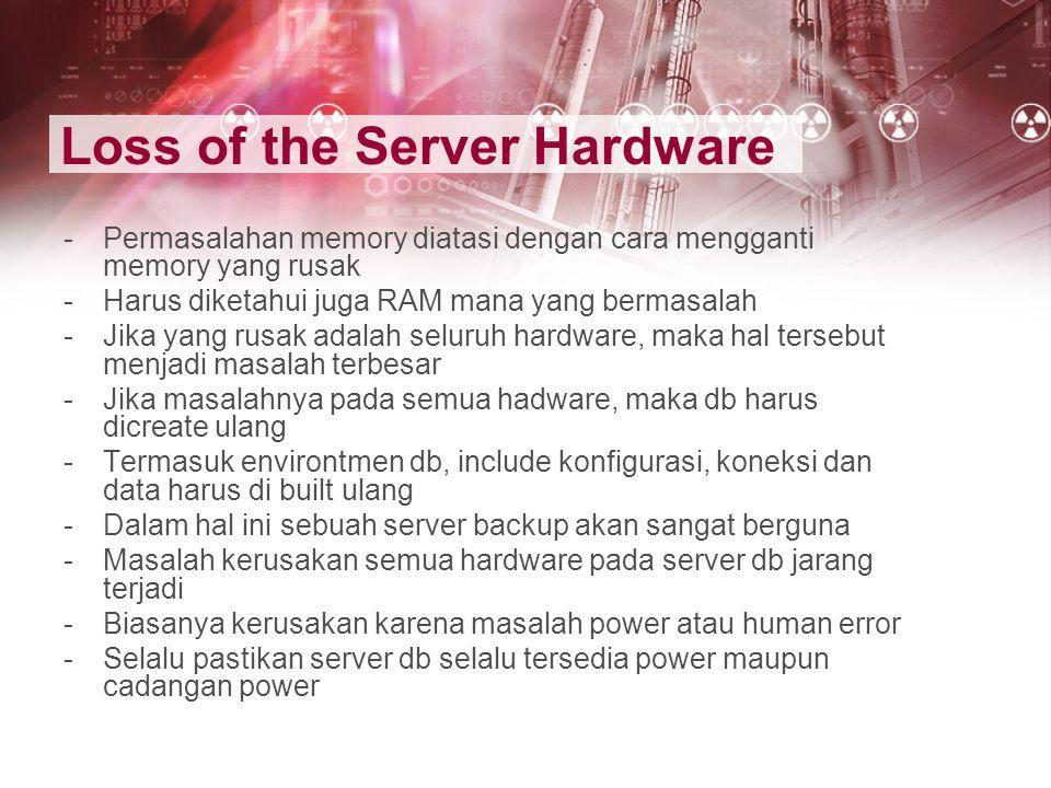 Loss of the Server Hardware -Permasalahan memory diatasi dengan cara mengganti memory yang rusak -Harus diketahui juga RAM mana yang bermasalah -Jika