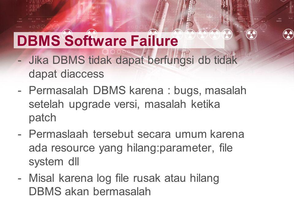 DBMS Software Failure -Jika DBMS tidak dapat berfungsi db tidak dapat diaccess -Permasalah DBMS karena : bugs, masalah setelah upgrade versi, masalah
