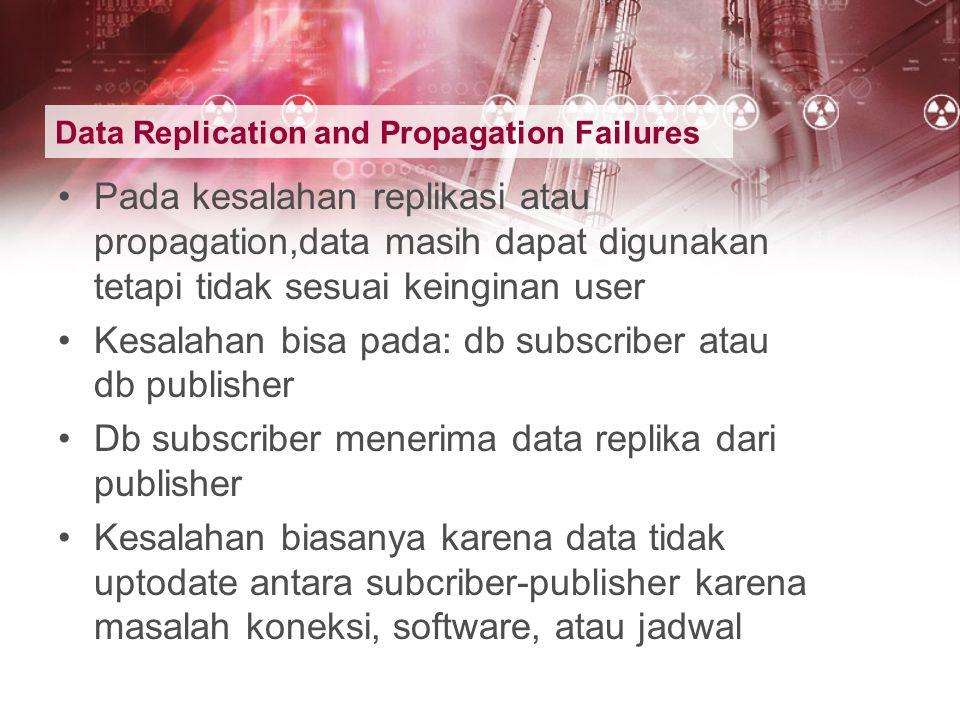 Data Replication and Propagation Failures Pada kesalahan replikasi atau propagation,data masih dapat digunakan tetapi tidak sesuai keinginan user Kesa