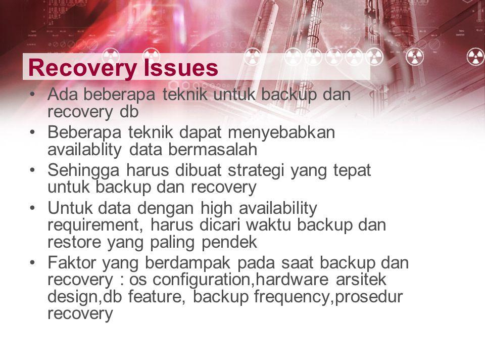 Recovery Issues Ada beberapa teknik untuk backup dan recovery db Beberapa teknik dapat menyebabkan availablity data bermasalah Sehingga harus dibuat s