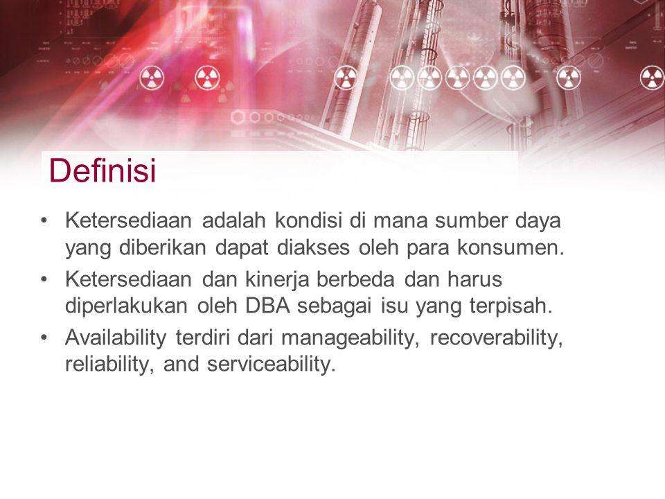 Definisi Ketersediaan adalah kondisi di mana sumber daya yang diberikan dapat diakses oleh para konsumen. Ketersediaan dan kinerja berbeda dan harus d