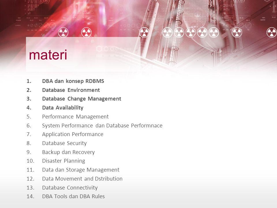 materi 1.DBA dan konsep RDBMS 2.Database Environment 3.Database Change Management 4.Data Availability 5.Performance Management 6.System Performance da