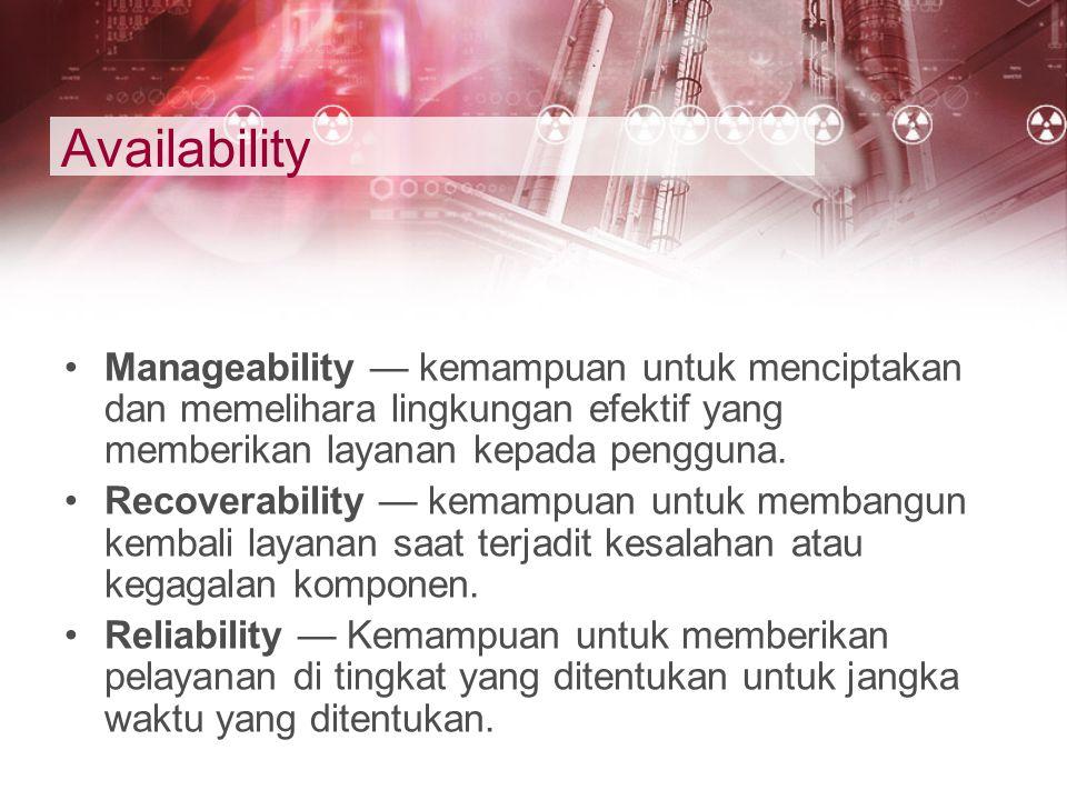 Availability Manageability — kemampuan untuk menciptakan dan memelihara lingkungan efektif yang memberikan layanan kepada pengguna. Recoverability — k