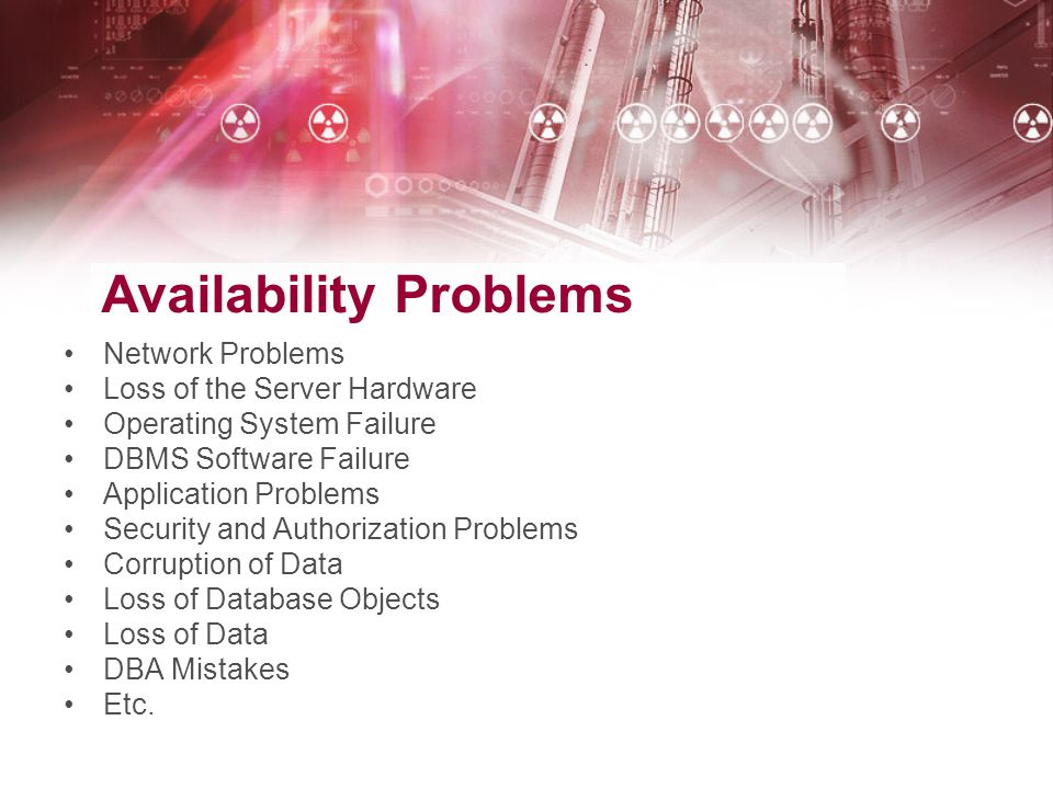 Availability Problems Network Problems Loss of the Server Hardware Operating System Failure DBMS Software Failure Application Problems Security and Au