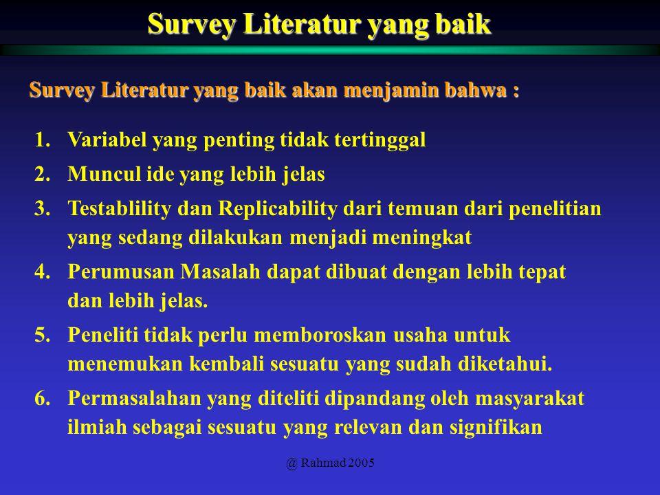 @ Rahmad 2005 Survey Literatur yang baik 1.Variabel yang penting tidak tertinggal 2.Muncul ide yang lebih jelas 3.Testablility dan Replicability dari