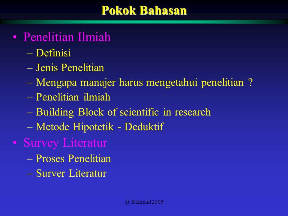 @ Rahmad 2005 Pokok Bahasan Penelitian Ilmiah –Definisi –Jenis Penelitian –Mengapa manajer harus mengetahui penelitian ? –Penelitian ilmiah –Building
