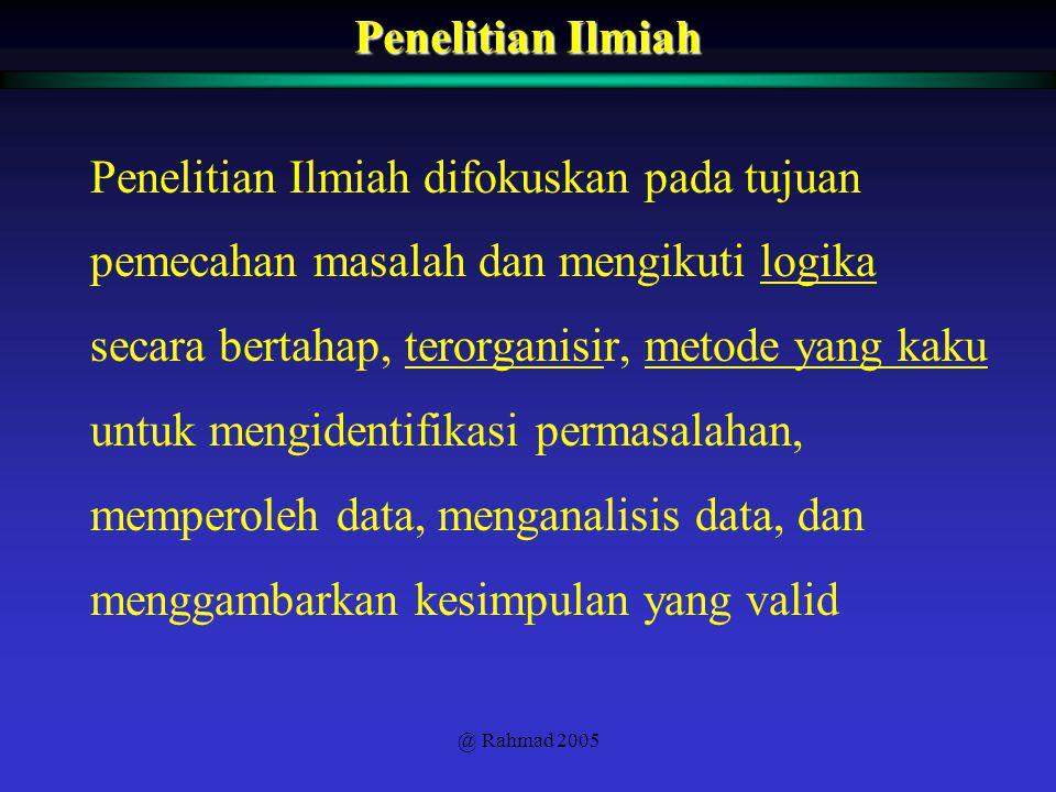 @ Rahmad 2005 1.Purposiveness 2.Rigor 3.Testability 4.Replicability 5.Precision and Confidence 6.Objectivity 7.Generalizability 8.Parsimony Ciri-ciri Penelitian Ilmiah ( memiliki tujuan ) ( kaku ) ( Dapat diuji) ( Dapat diulangi ) ( Tepat dan meyakinkan ) ( Obyektif ) ( Dapat di- generalisasi ) ( Hemat )