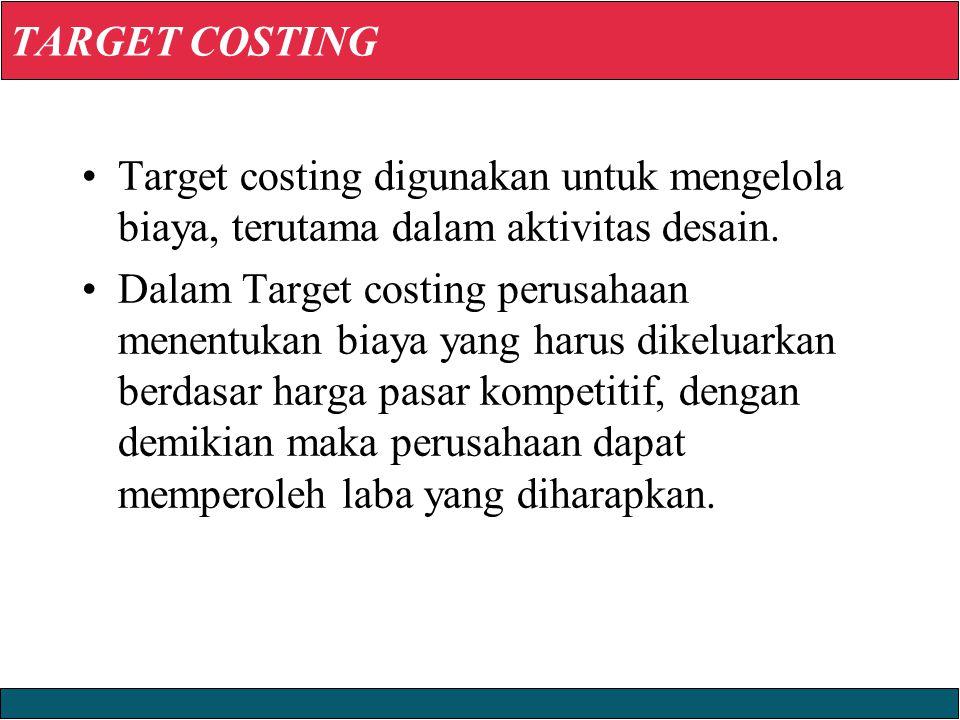 23/12/2008 © Yudhi Herliansyah, 2008 TARGET COSTING Target costing digunakan untuk mengelola biaya, terutama dalam aktivitas desain.