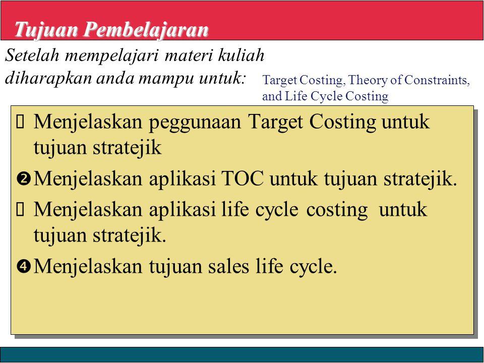 23/12/2008 © Yudhi Herliansyah, 2008  Menjelaskan peggunaan Target Costing untuk tujuan stratejik  Menjelaskan aplikasi TOC untuk tujuan stratejik.