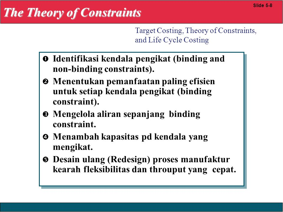 23/12/2008 © Yudhi Herliansyah, 2008  Identifikasi kendala pengikat (binding and non-binding constraints).