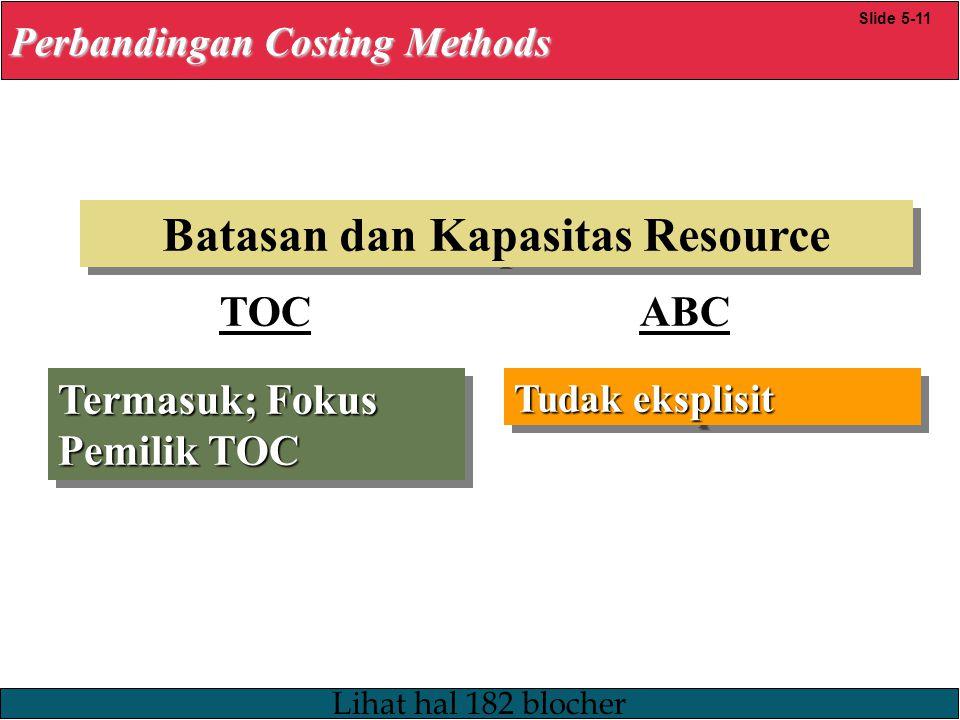 23/12/2008 © Yudhi Herliansyah, 2008 Batasan dan Kapasitas Resource Termasuk; Fokus Pemilik TOC Tudak eksplisit Perbandingan Costing Methods Slide 5-11 TOC ABC Lihat hal 182 blocher