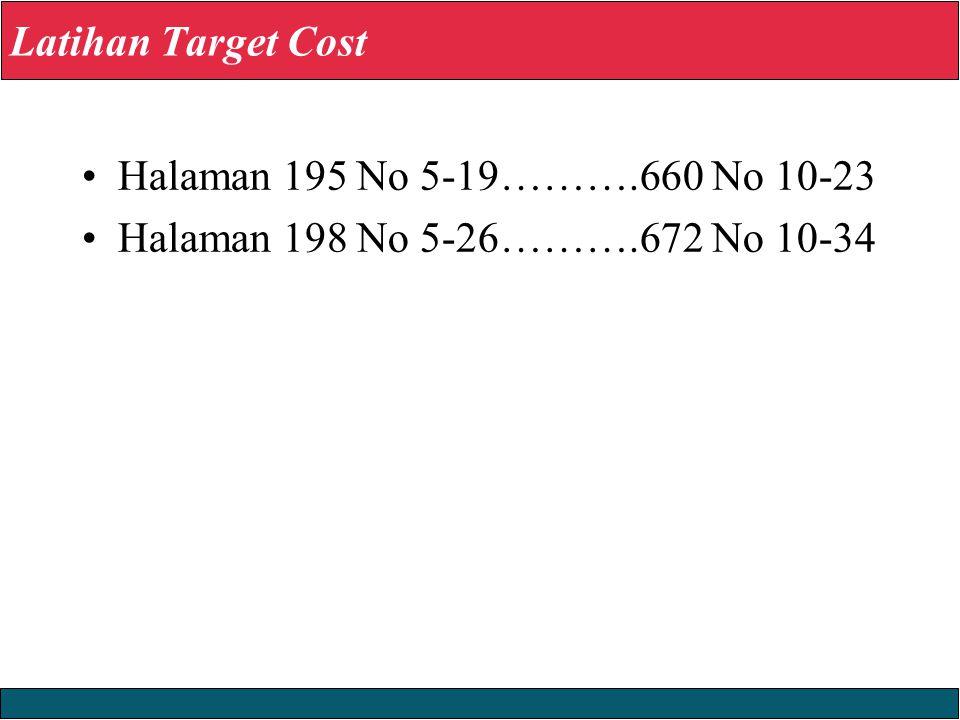 23/12/2008 © Yudhi Herliansyah, 2008 Latihan Target Cost Halaman 195 No 5-19……….660 No 10-23 Halaman 198 No 5-26……….672 No 10-34