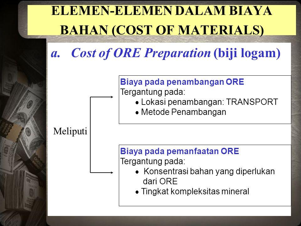 ELEMEN-ELEMEN DALAM BIAYA BAHAN (COST OF MATERIALS) a.Cost of ORE Preparation (biji logam) Biaya pada penambangan ORE Tergantung pada:  Lokasi penambangan: TRANSPORT  Metode Penambangan Biaya pada pemanfaatan ORE Tergantung pada:  Konsentrasi bahan yang diperlukan dari ORE  Tingkat kompleksitas mineral Meliputi