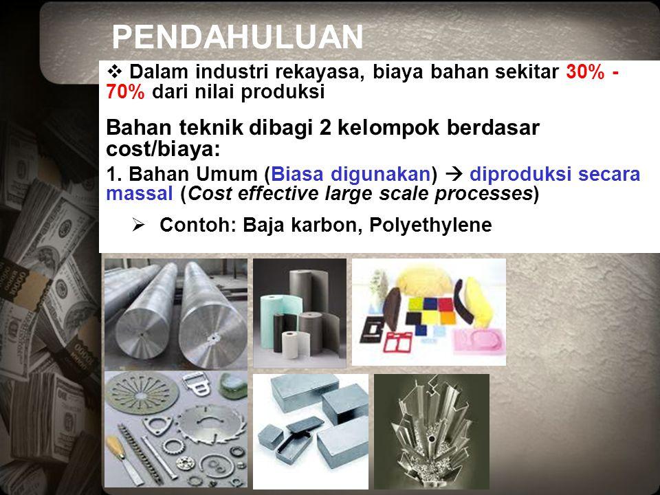 PENDAHULUAN  Dalam industri rekayasa, biaya bahan sekitar 30% - 70% dari nilai produksi Bahan teknik dibagi 2 kelompok berdasar cost/biaya: 1. Bahan
