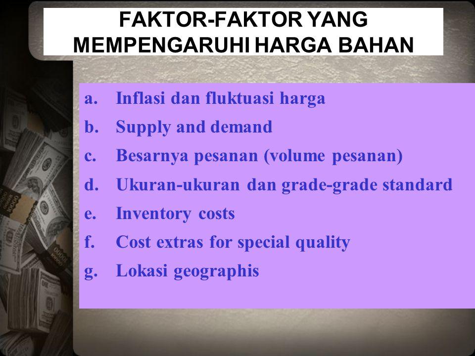 FAKTOR-FAKTOR YANG MEMPENGARUHI HARGA BAHAN a.Inflasi dan fluktuasi harga b.Supply and demand c.Besarnya pesanan (volume pesanan) d.Ukuran-ukuran dan