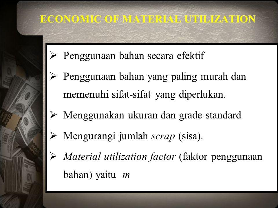 ECONOMIC OF MATERIAL UTILIZATION  Penggunaan bahan secara efektif  Penggunaan bahan yang paling murah dan memenuhi sifat-sifat yang diperlukan.  Me