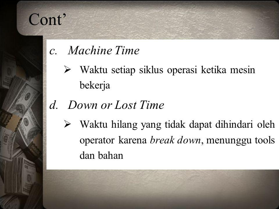 Cont' c.Machine Time  Waktu setiap siklus operasi ketika mesin bekerja d.Down or Lost Time  Waktu hilang yang tidak dapat dihindari oleh operator ka